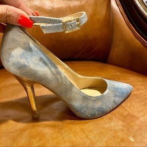 New Scene Women's Denim Ankle Strap Pump SZ 9.